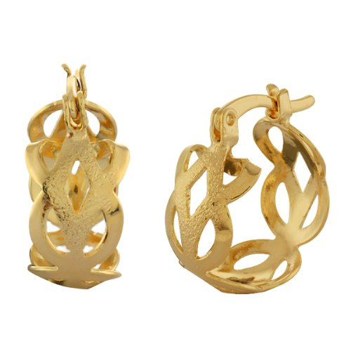 "1/2"" Stunning Design Yellow Gold Plated 15mm Hoop Earrings Women's"
