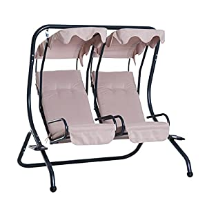 Outsunny Garden Outdoor Swing Chair 2 Seater Swinging Hammock Bench Patio Cushioned Seat With Tray Beige