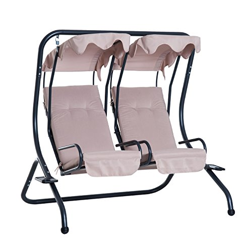 (Outsunny 2 Person Outdoor Hanging Porch Seat Swing Chairs with Canopy - Beige)