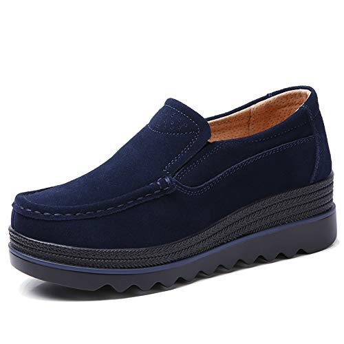 HKR HWT1099shenlan35 Womens Casual Platform Shoes Slip On Wide Width Loafers Comfortable Wedge Sneakers Navy Blue 5.5 W US