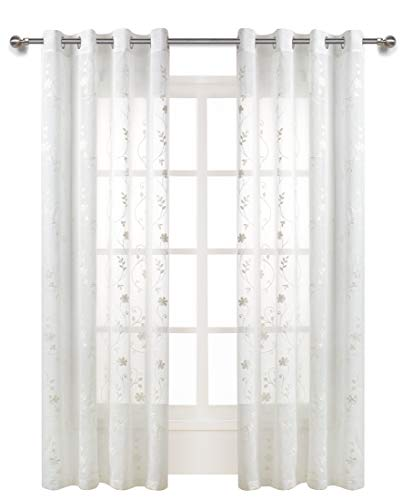 White Embroidered Sheer Curtains for Living Room Curtain Set Floral Embroidery Semi Sheer Curtains for Bedroom 84 inches Long Rustic Voile Window Curtain Panels - (1 Pair, Ivory White)