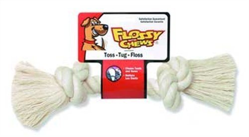 Flossy Chews 100-Percent Cotton White Rope Bone, Large, 14-Inch