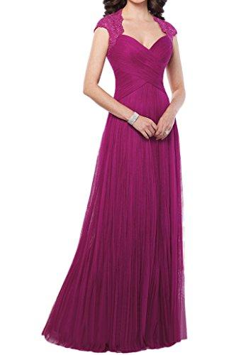La_mia Braut 2016 Neu Elegant Fuchsia Dunkel Blau Spitze V-ausschnitt Abendkleider Ballkleider Brautmutterkleider Lang -44 Fuchsia