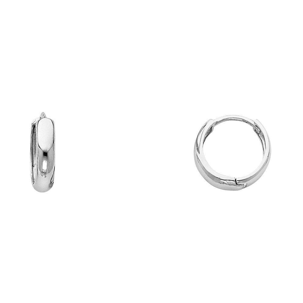 14k White Gold 3mm Thickness Huggies Earrings 12 x 12 mm