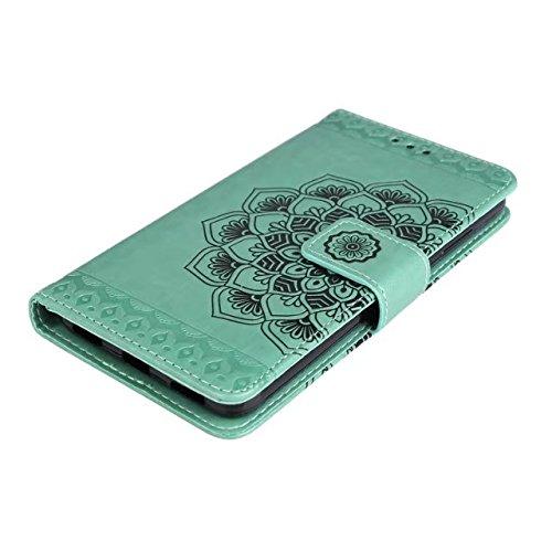 YAJIE-Carcasa Funda Para Huawei Honor 5A / Huawei Y6 2 / Y6 II en relieve medio diseño de flores [correa para la muñeca] Cartera de cuero Premium de la PU Flip Case ( Color : Green ) Green
