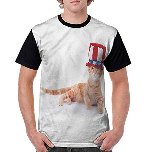 Fashion T-Shirt,Cat Kitty USA Flag Hat Fashion Personality Customization