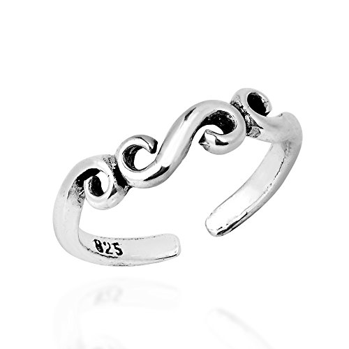 Ring Swirl Open (AeraVida Filigree Infinity Swirl .925 Sterling Silver Toe Ring or Pinky Ring)