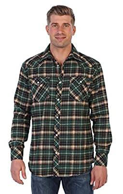 Gioberti Men's Western Brushed Flannel Plaid Checkered Shirt w/Snap Button