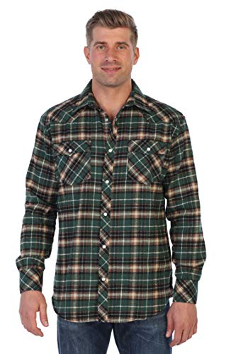 Gioberti Men's Western Brushed Flannel Plaid Checkered Shirt w/Snap-on Button, Green/Black/Ivory Highlight, Small