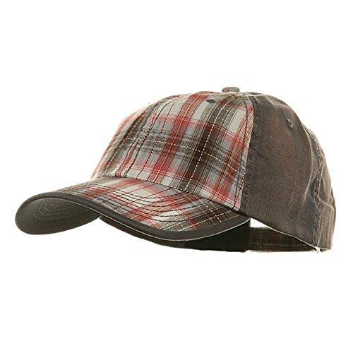 Ball Plaid Cap (Low Profile Washed Plaid Cotton Cap - Grey W31S58A)