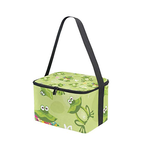 Bandoulière lunch pique Boîte fleur fond et nique Sac à Sbires pour Cooler à déjeuner grenouilles vert sur AFwPfaOqx