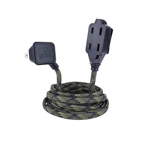 Globe Electric Designer Series 9ft Fabric Extension Cord, 3 Polarized Outlets, Right Angle Plug, 125 Volts, Camouflage, 22838