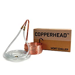 Copperhead Immersion Wort Chiller for Homebrew Beer Brewing - 25 Foot Copper Coil and Vinyl Tubing with Garden Hose Connection