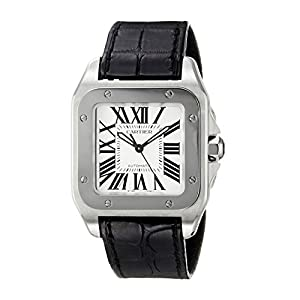 Cartier Santos 100 - Reloj (Reloj de pulsera, Masculino, Acero, Acero inoxidable, Cuero, Negro) 9