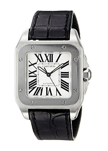 Cartier Santos 100 Ladies - Cartier Midsize W20106X8 Santos 100 Automatic Leather Watch