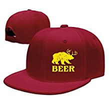 Unisex Flat Snapback Caps Beer Funny Deer Bear Animal Gift Casual