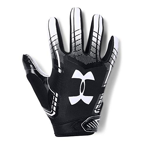 Under Armour Boys' Pee Wee F6 Football Gloves, Black (001)/White, One Size