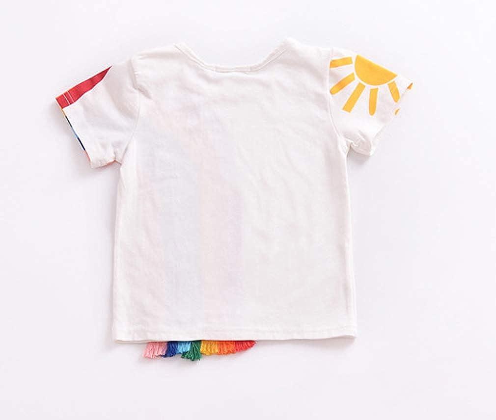 Toddler Kids Baby Boy Girl Short Sleeve Tassel Rainbow T-Shirt Striped Summer Casual Tops