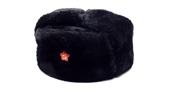 Amazon.com  Authentic Russian Military Black Ushanka Hat Red Star Hammer  and Sickle Size  XXL   Clothing fd244095b437