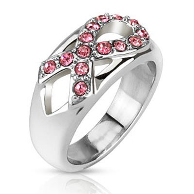 Pink Ribbon Breast Cancer Awareness High Polish Wedding Band With CZ Cubic Zirconia