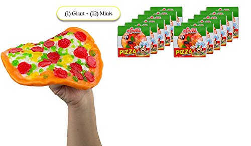 ULTIMATE GIANT GUMMY PIZZA CANDY SAMPLER – (1) Giant Gummy Pizza + (12) Mini Gummy Pizzas, Individually Wrapped -