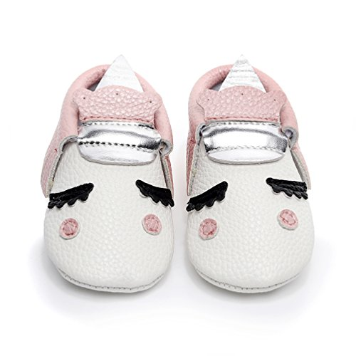 HONGTEYA Personalized Baby Boys Girls First Walkers Tassel Soft Non-Slip Blush Golden Angle Unicorn Crib Shoes Moccasin Sandal (0-3 Months/US 3.5/4.33'' / See Size Chart, Pink) for $<!--$9.99-->
