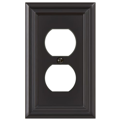 Amerelle 94DORB Continental Cast Metal Wallplate with 1 Duplex Outlet, Oil Rubbed Bronze