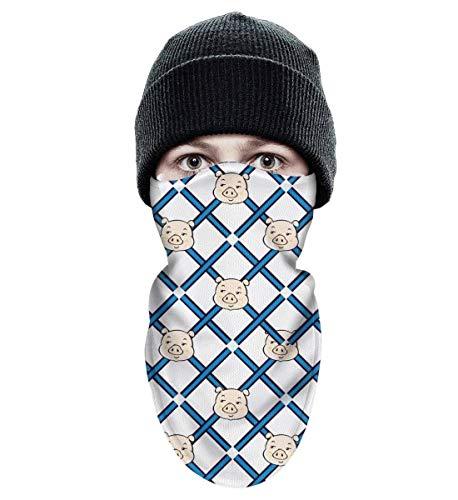 Mackiintion Unisex Cute Cartoon Lattice Pig Winter Face Mask Balaclava Windproof Ski Mask