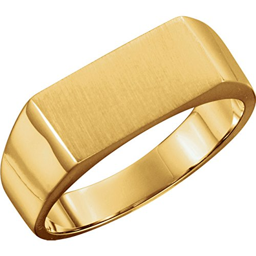 14kt Yellow 7.5x15mm Men's Signet Ring - Ladies 14kt Gold Signet Ring