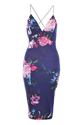 AX Paris Women's Floral Plunge String Strap Midinavy Dress(Navy, Size:6)