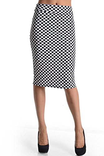 Women's Below the Knee Pencil Skirt for Office Wear - Made in USA Black/White Checked Large