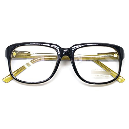 Square Horn Rim Eyeglasses Clear Lens Nerd Spectacles Classic Geek Glasses 60191 (Black Yellow Two-tone, - Prescription Glasses Geek