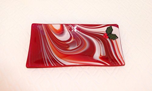 Red Fused Glass Holiday Holly Cracker Plate