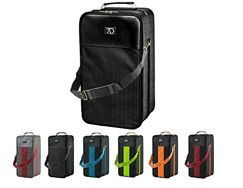 Extra Large Wig Travel Box with Top Handle, Shoulder Strap and Double Zipper, Carrying Case with Removable Head-Holding Base - Black Grid Design - by Adolfo (Tall Case)