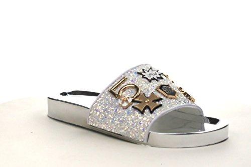 CAPE ROBBIN Women Slide Flip Flop Glitter Metal Pendant Ornament Sandal Amor-2 (9, White)