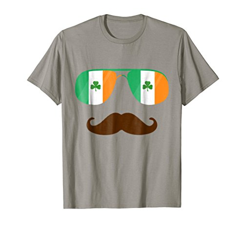 Flag Sunglasses Mustache Ireland T-Shirt Irish Flags -