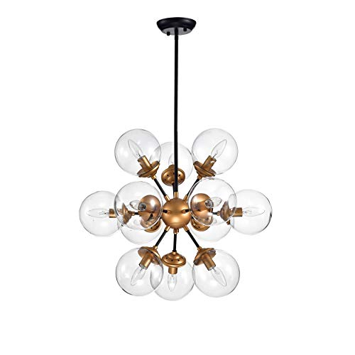 Modern Industrial 12 Light Clear Glass Globe Pendant Chandelier in Bronze Finish - Includes Modhaus Living Pen Candice Glass Floor Lamp