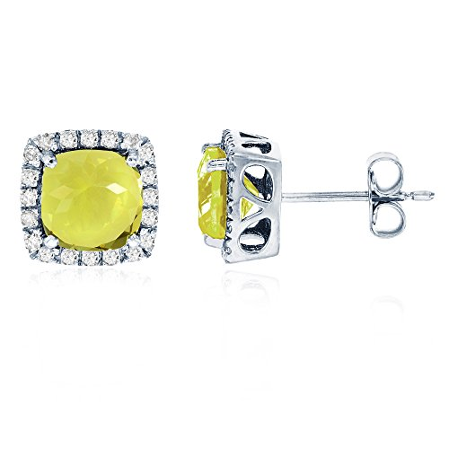 (Sterling Silver Rhodium 6mm Cushion Lemon Quartz & Cr White Sapphire Halo Stud Earring)