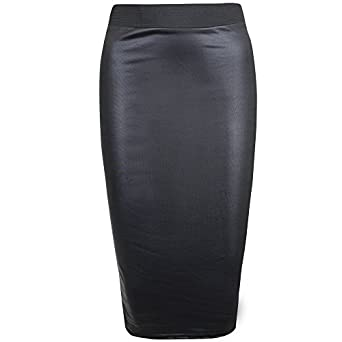 Womens Faux Leather Ladies Elastic Waistband Bodycon Stretch Wet ...