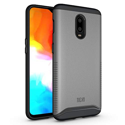 OnePlus 6T Case, TUDIA [Merge Series] Dual Layer Heavy Duty Reinforced Military Standard Extreme Drop Protection/Rugged with Slim Camera Precise Cutouts Phone Case for OnePlus 6T (Metallic Slate)