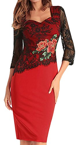 Neck Sleeve Square Lace Womens Dresses Sexy Bodycon Long Embroidery Red Jaycargogo fwFtqHxat