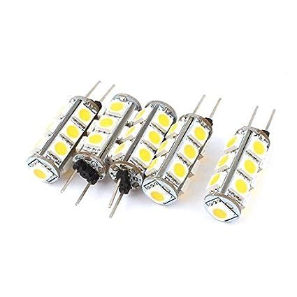 5pcs 0.5W G4 de 360 grados Base 5050 SMD 13 LED blanco cálido