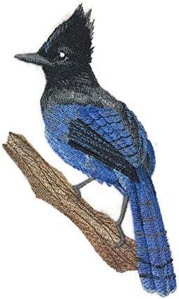 BLUEJAY ON BRANCH Iron On Patch Birds