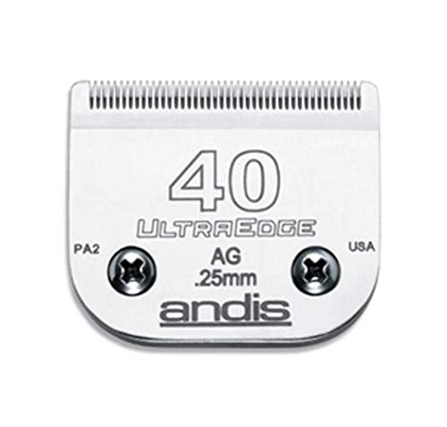 - Andis Carbon-Infused Steel UltraEdge Super Blocking Dog Clipper Blade, Size-40, 1/100-Inch Cut Length (64076)