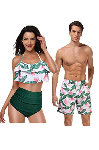 Jumojufol Couple Swimsuits Women Men Matching Swim Trunk 2 Pack Green2 Women S/Men M (Couple Swim Suit)