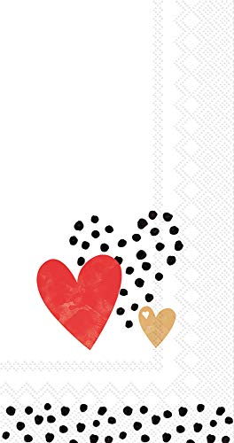 Boston International BF767991 IHR Guest Towel Buffet Paper Napkins, 8.5 x 4.5-Inches, Love You Gold/Red -