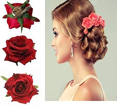 973fbfcde Buy Ekan Red Rose Flower Hair Clips Bridal Hair Accessories (15 g) - Set of  2 Online at Low Prices in India | Amazon Jewellery Store - Amazon.in