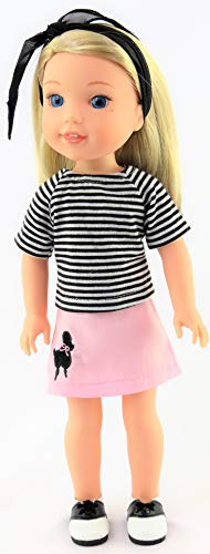 Light Pink 50's Poodle Skirt Outfit -Fits 14 Inch Wellie Wisher Dolls | 14 Inch Doll Clothing