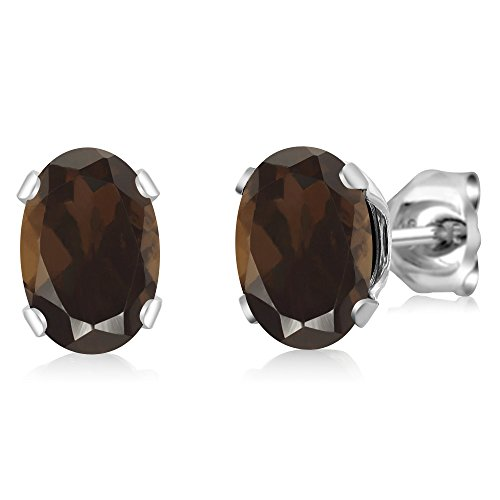 1.50 Ct Oval Shape Brown Smoky Quartz Sterling Silver Stud Earrings (Box Silver Smoky Quartz Jewelry)