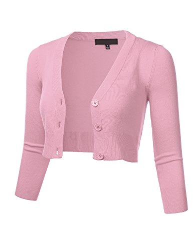FLORIA Women Solid Button Down 3/4 Sleeve Cropped Bolero Cardigan Sweater LightPink XL